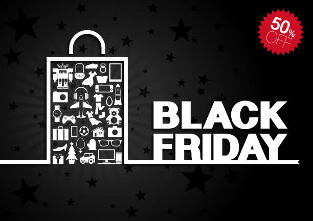 Black Friday background [Goods in paper bag] vector art illustration