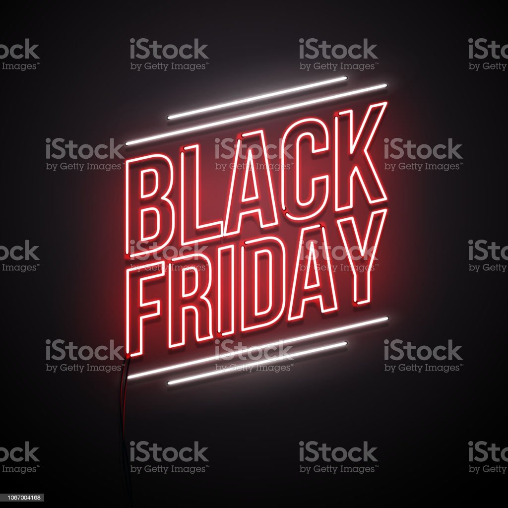Black Friday background. Neon sign. - Royalty-free Black Friday arte vetorial