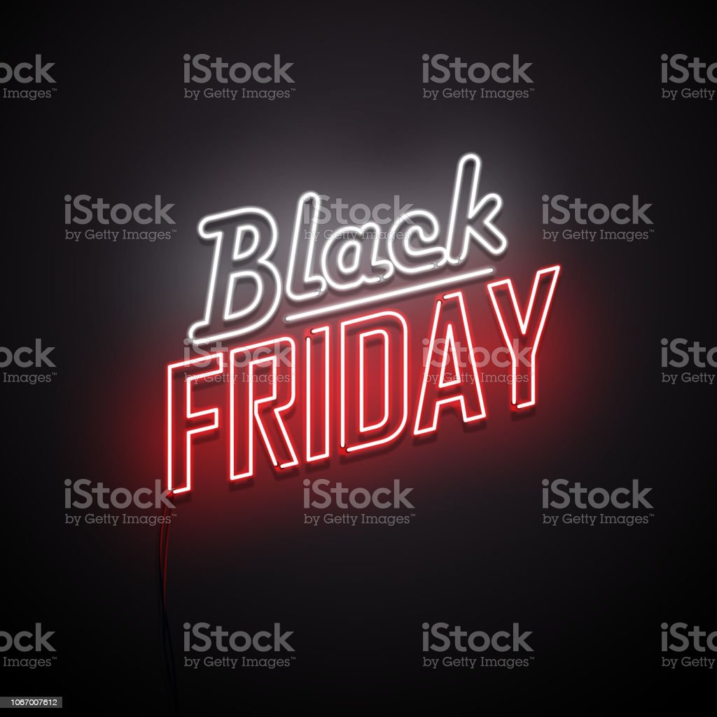 Black Friday background. Neon sign. Black Friday background. Neon sign. Vector illustration. Advertisement stock vector