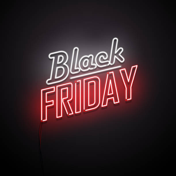 Black Friday background. Neon sign. Black Friday background. Neon sign. Vector illustration. black friday sale stock illustrations
