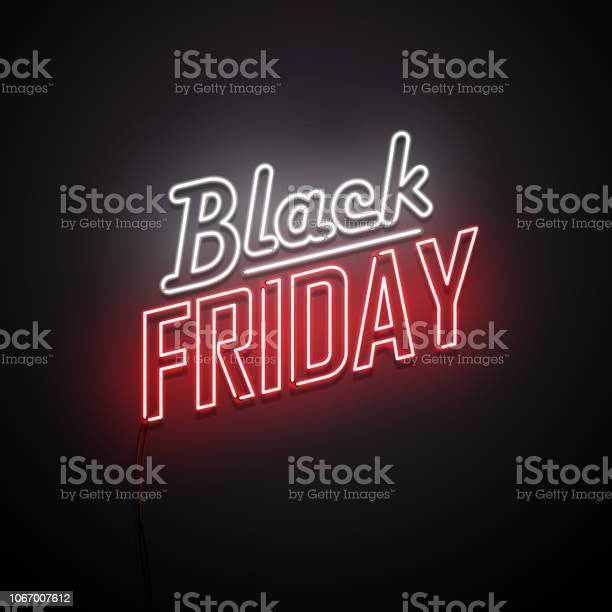 Black Friday Background Neon Sign Stock Illustration - Download Image Now
