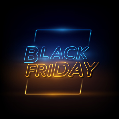 Black Friday background. Neon sign.