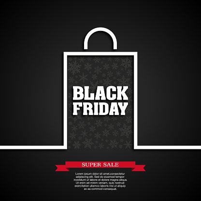 Black Friday background [Snowflakes in paper bag]