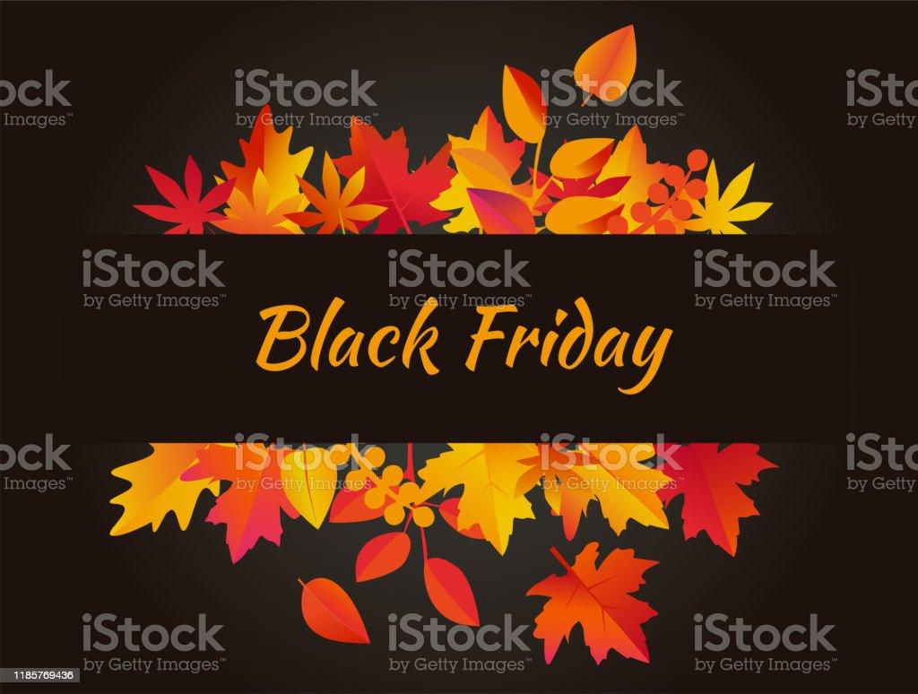 Vector de fondo del Viernes Negro con hojas de otoño - arte vectorial de Amarillo - Color libre de derechos