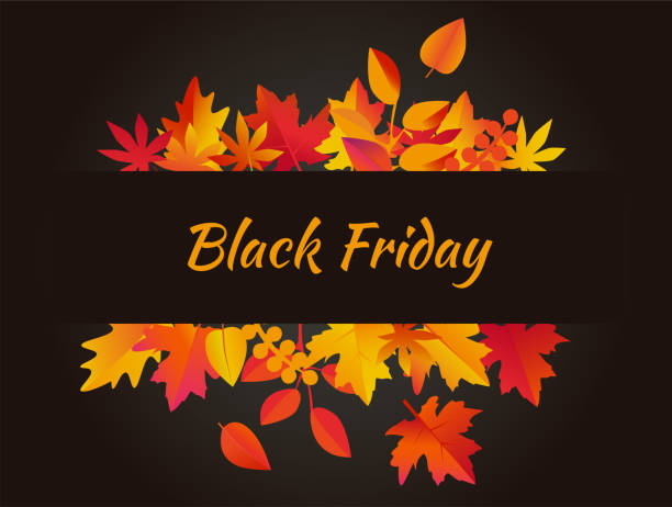 ilustraciones, imágenes clip art, dibujos animados e iconos de stock de vector de fondo del viernes negro con hojas de otoño - black friday sale