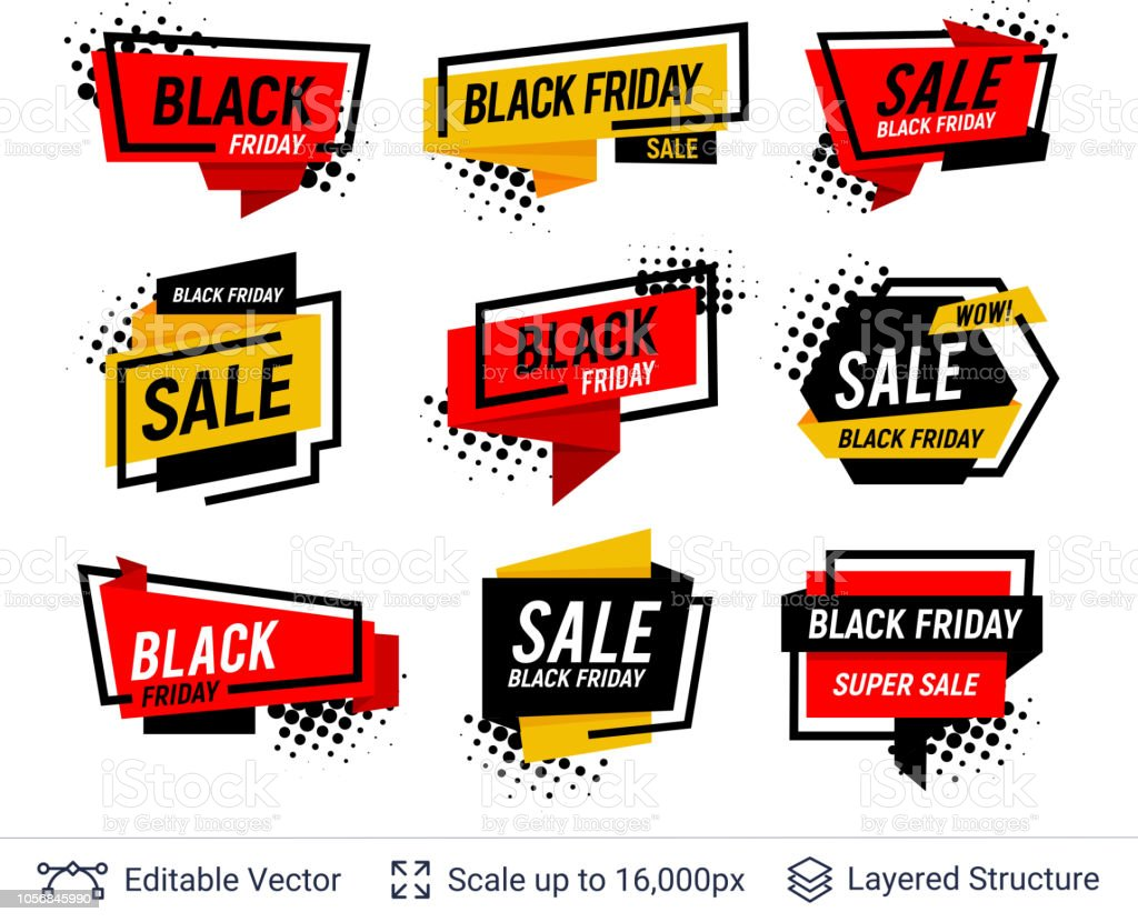 Black Friday Badges Set Geometric Shapes And Text Stock Vector Art