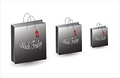 Black Friday Bag. Sale and deals. Set of shopping bags