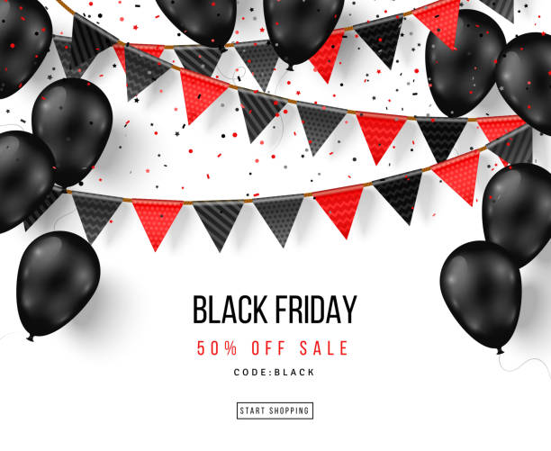 Black Friday balloons and garlands Black Friday Sale Poster with Shiny Balloons and Flag Garlands. Vector illustration. black friday sale background stock illustrations