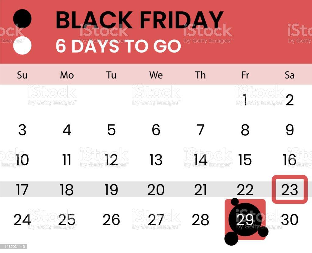 Bandera del viernes negro como calendario con cuenta regresiva - arte vectorial de Acuerdo libre de derechos