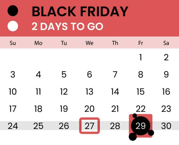 ilustraciones, imágenes clip art, dibujos animados e iconos de stock de bandera del viernes negro como calendario con cuenta regresiva - black friday sale