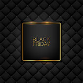 istock Black Friday banner. Golden text on black square with gold frame. Black luxury leather pattern background. Vector illustration. 1248645597