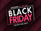 Black Friday banner or poster design with 75% discount offer on diagonal striped abstract background.