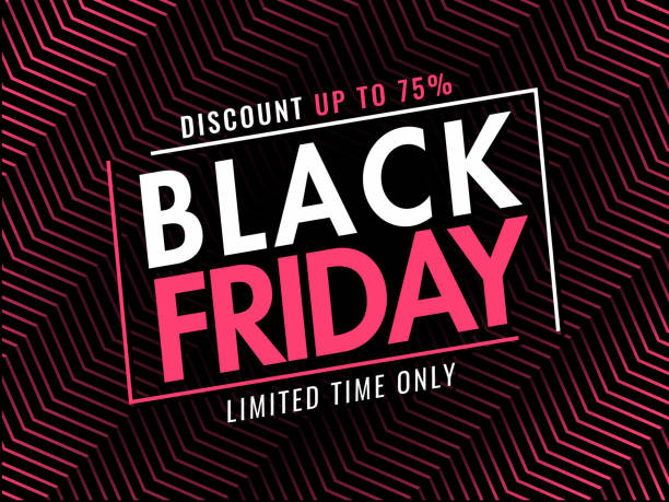 Black Friday banner or poster design with 75% discount offer on diagonal striped abstract background. Black Friday banner or poster design with 75% discount offer on diagonal striped abstract background. black friday sale background stock illustrations