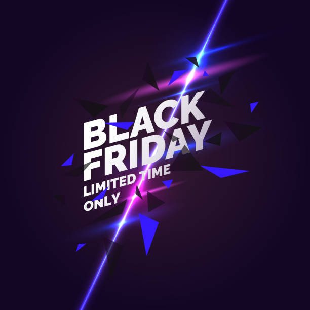 Black friday banner. Original poster for discount. Geometric shapes and neon glow against a dark background Black friday banner. Original poster for discount. Geometric shapes and neon glow against a dark background. Vector illustration. black friday sale stock illustrations