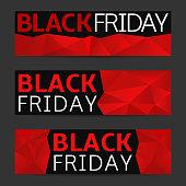 Black friday sale banner set. Red polygonal discount cards