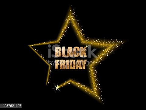istock Black Friday. Banner shining gold star retro vector Black Friday 1287621127