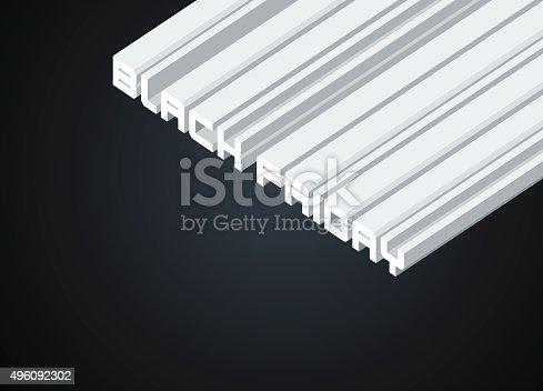 Isometric Banner for Advertising of Black Friday - Vector Illustration