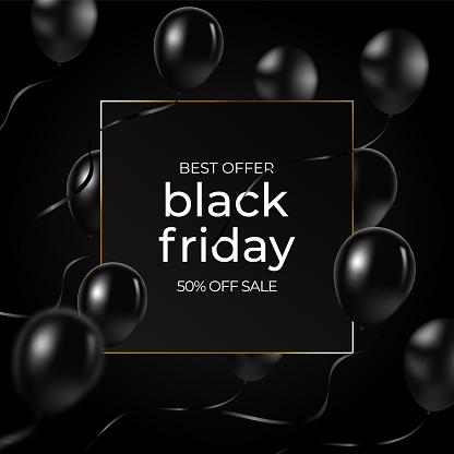 Black Friday banner, vector illustration. Gold glitter dots, luxury frame, golden calligraphic text, black realistic balloons. Graphic design elements for flyer, sale promo.