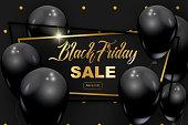 Black Friday web banner, flyer with golden glitter.
