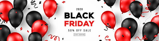 Black Friday Banner with Balloons Black Friday Sale Horizontal Banner with Red and Black Shiny Balloons on White Background. Confetti and Place for text. Vector illustration. black friday sale stock illustrations