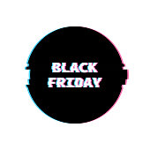 Black Friday Banner with Glitch Noise Retro Effect