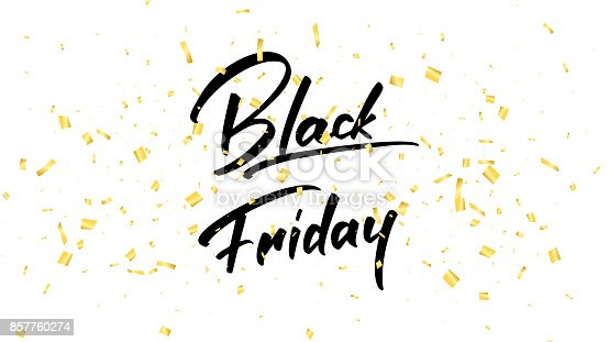 Black Friday. Banner with trendy handlettering and realistic gold confetti. Black Friday sale background.