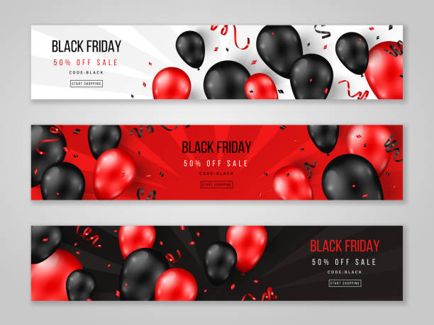 Black Friday banners Black Friday Sale horizontal banners with 3d balloons and confetti. Vector illustration. Place for text. black friday sale background stock illustrations