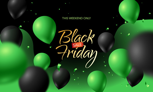 Black Friday Big Sale Banner. Black and green web background with balloons and confetti