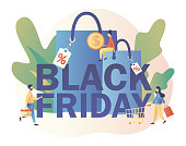 Black Friday Big Sale concept. Tiny people and big shopping bags. Modern flat cartoon style. Vector