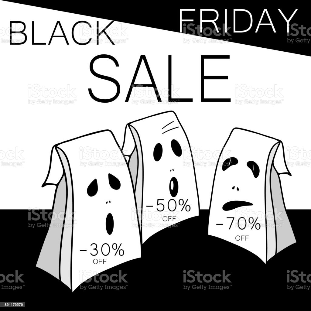 Black friday big sale. Shopping bags with different types of discounts. Place for text. Black and white colors concept. Autumn holiday background.. Creative vector illustration royalty-free black friday big sale shopping bags with different types of discounts place for text black and white colors concept autumn holiday background creative vector illustration stock vector art & more images of arts culture and entertainment