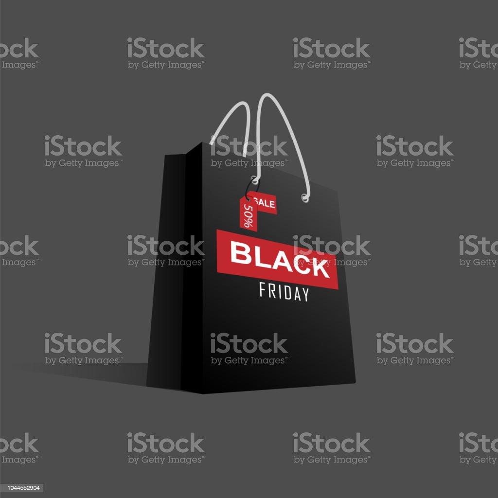 Black Friday black paper bag big sale on dark background