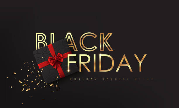 Black Friday. Calligraphic lettering Black Friday with golden texture and Christmas decorative elements present box. Advertising Poster design.Vector illustration. vector art illustration