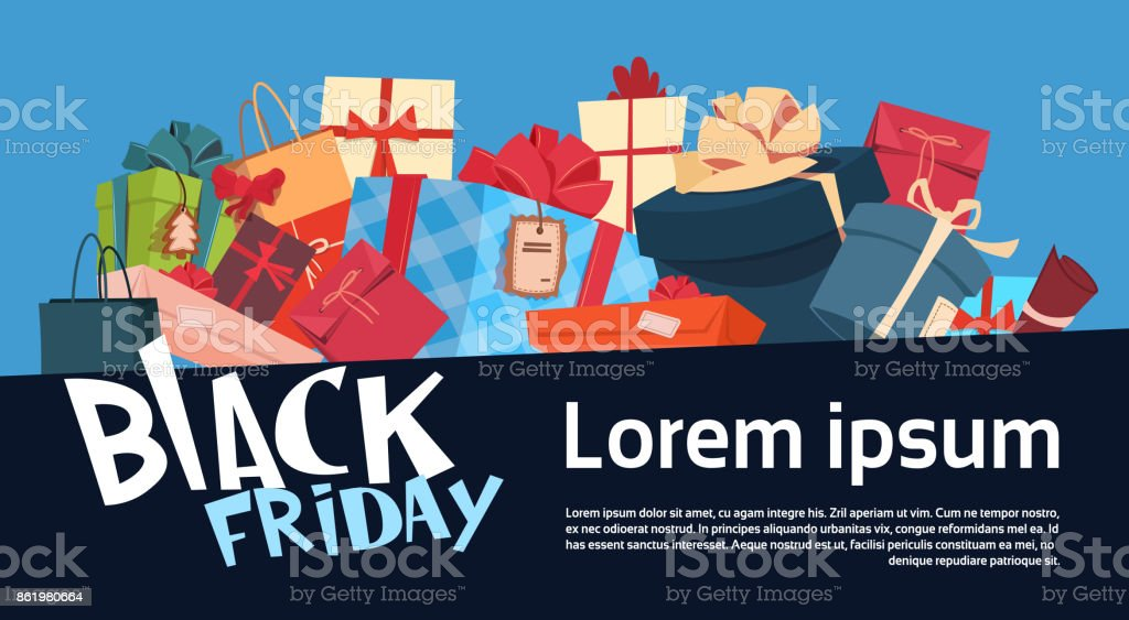 black friday christmas and happy new year promotion banner seasonal holiday present boxes shopping discount label