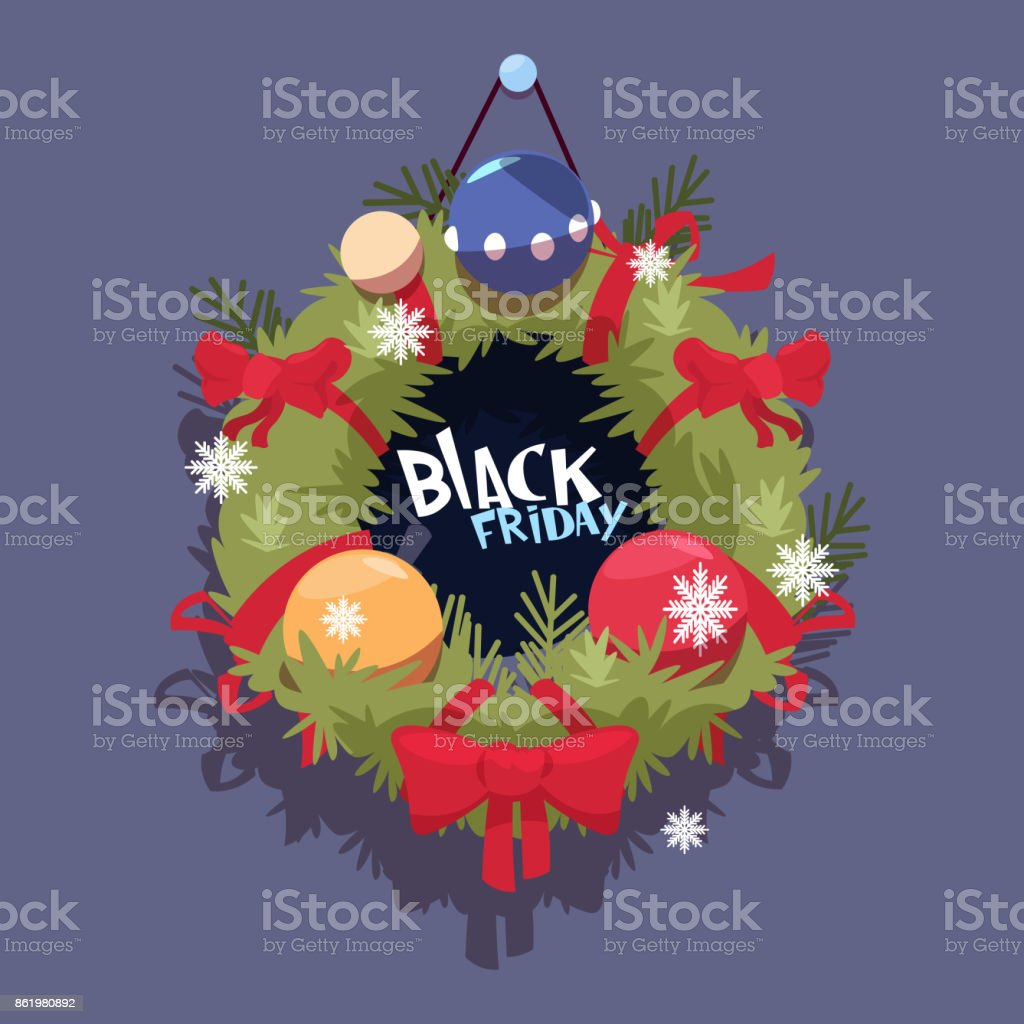 black friday christmas and happy new year promotion banner seasonal holiday discount label royalty free - Black Friday Deals Christmas Decorations