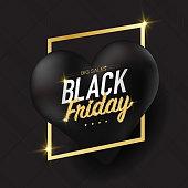 Black Friday Concept Black Hearts Poster