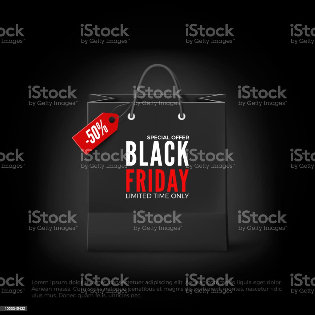 Black Friday concept. Black paper bag with tag Sale and text. Black...