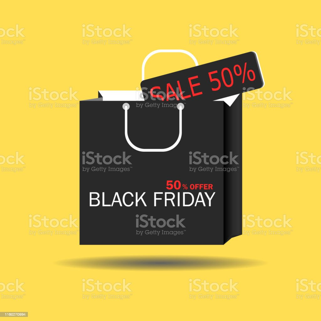 Black Friday concept Black paper cut bag with 50% offer tag Sale....