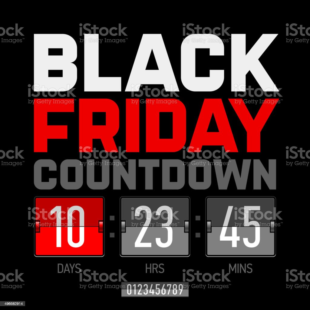 Black Friday countdown timer template vector art illustration