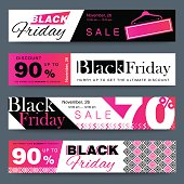 Black Friday creative social media sale web banners design for online shop or store. Trendy geometric vector ad discount or clearance for mobile apps.