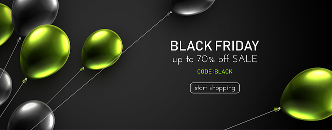 Black friday dark background with black and green balloons.