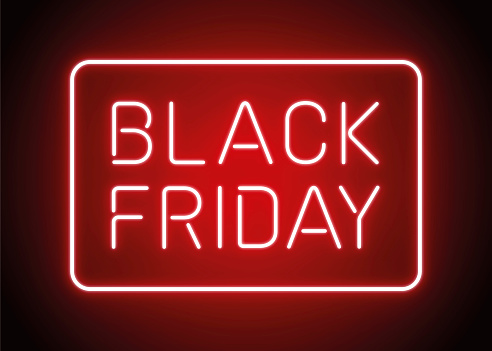 Black Friday design in fashionable neon style for advertising, banners, leaflets and flyers.