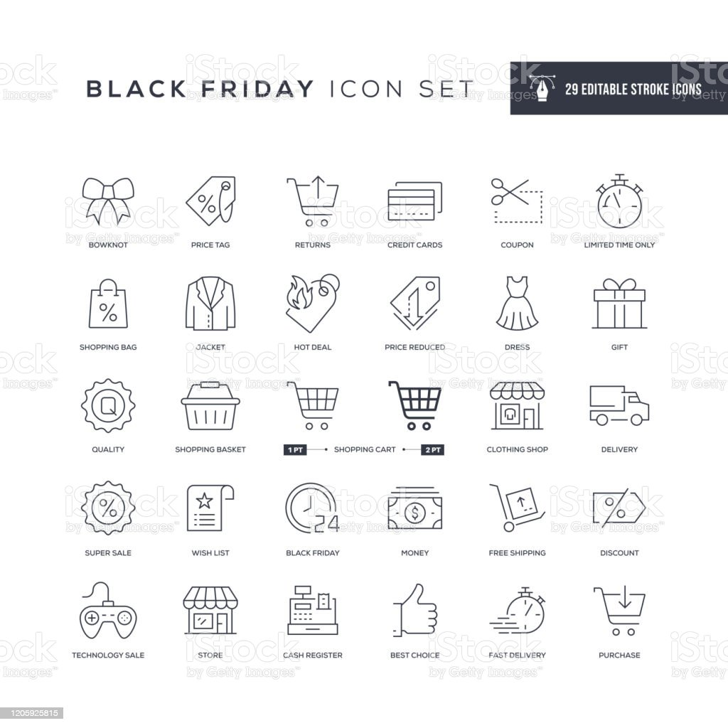 Black Friday Editable Stroke Line Icons 29 Black Friday Icons - Editable Stroke - Easy to edit and customize - You can easily customize the stroke with Bar Code stock vector