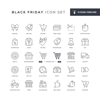Black Friday Editable Stroke Line Icons Stock Illustration - Download Image Now