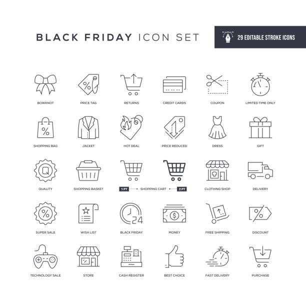 ilustrações de stock, clip art, desenhos animados e ícones de black friday editable stroke line icons - shop icon