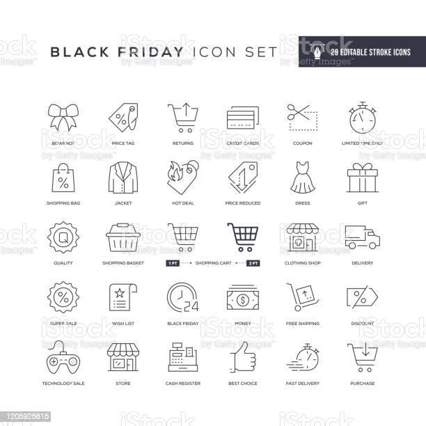 Black Friday Editable Stroke Line Icons - Arte vetorial de stock e mais imagens de Black Friday
