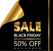 Black Friday fifty percent sale on a golden and black curled luxury paper.