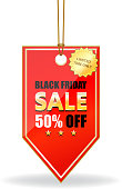 Black Friday fifty percent sale limited time offer on a red shiny price tag on a rope.