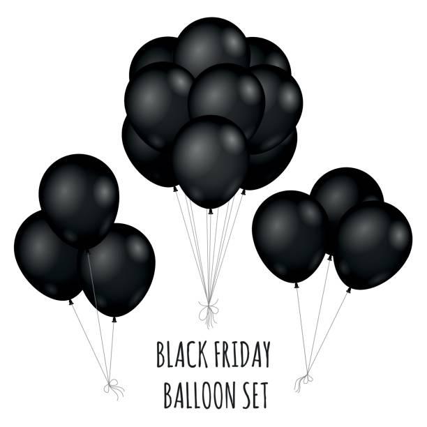 Black Friday flight rubber balloons bouquet vector art illustration