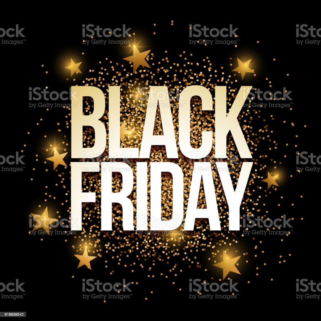 Black Friday golden glitter background banner. vector art illustration