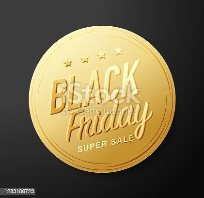 istock Black Friday golden sticker 1283106723